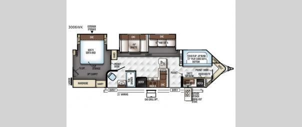 Rockwood Wind Jammer 3006WK Floorplan