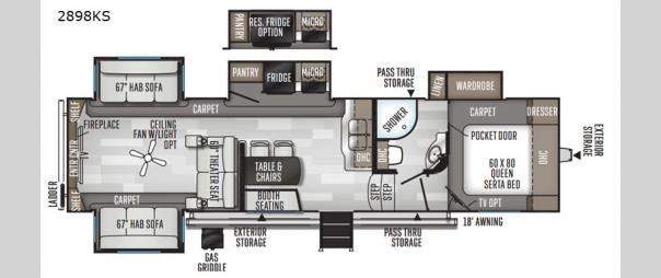 Rockwood Ultra Lite 2898KS Floorplan
