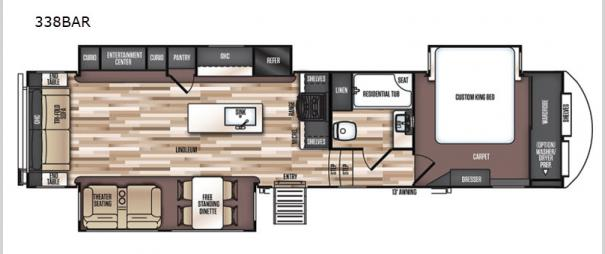 Wildwood Heritage Glen LTZ 338BAR Floorplan