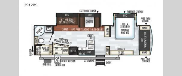 Rockwood Ultra Lite 2912BS Floorplan