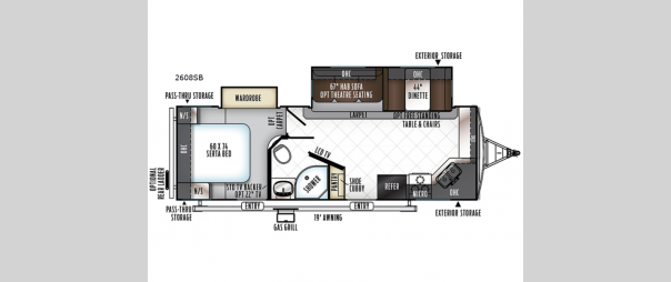 Rockwood Ultra Lite 2608SB Floorplan