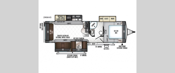 Rockwood Ultra Lite 2906WS Floorplan