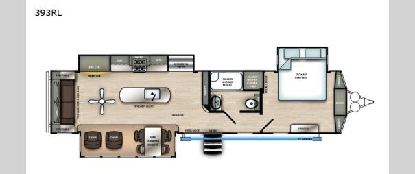 Sandpiper Destination Trailers 393RL Floorplan