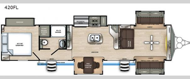Sandpiper Destination Trailers 420FL Floorplan