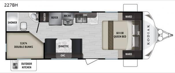 Kodiak Ultra-Lite 227BH Floorplan