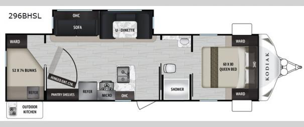 Kodiak Ultra-Lite 296BHSL Floorplan