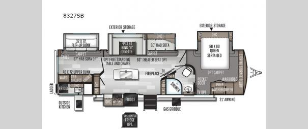 Rockwood Signature Ultra Lite 8327SB Floorplan