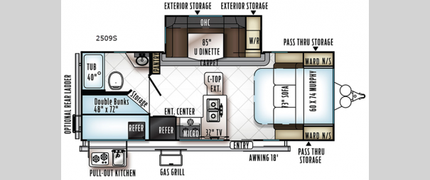 Rockwood Mini Lite 2509S Floorplan