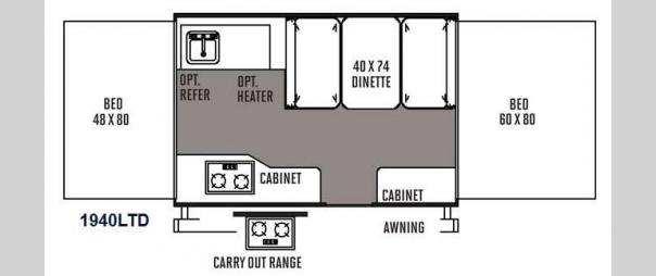 Rockwood Freedom Series 1940LTD Floorplan