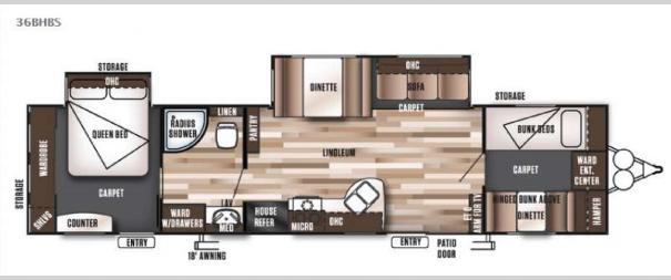 Wildwood 36BHBS Floorplan