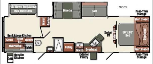 Gulf Breeze Champagne Series 30DBS Floorplan