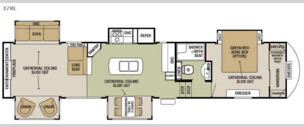 Cedar Creek Silverback 37RL Floorplan