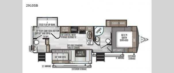 Rockwood Ultra Lite 2910SB Floorplan