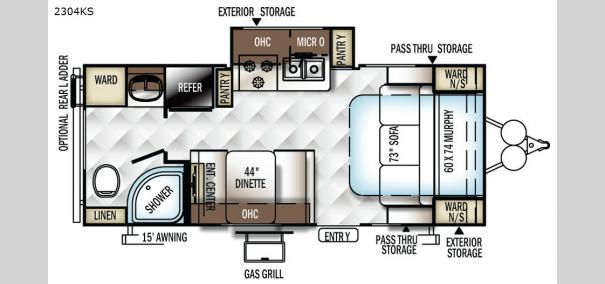 Rockwood Mini Lite 2304KS Floorplan
