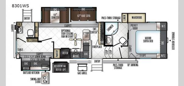 Rockwood Signature Ultra Lite 8301WS Floorplan