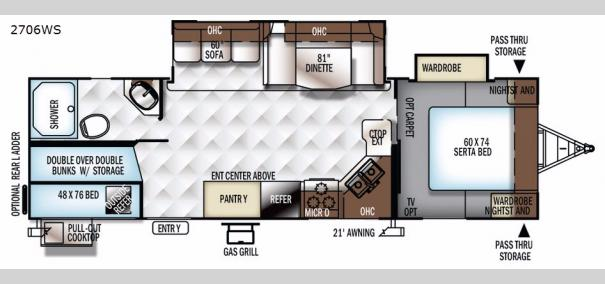 Rockwood Ultra Lite 2706WS Floorplan