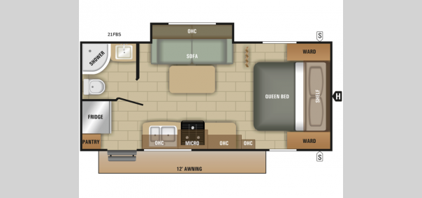 Mossy Oak Lite 21FB Floorplan