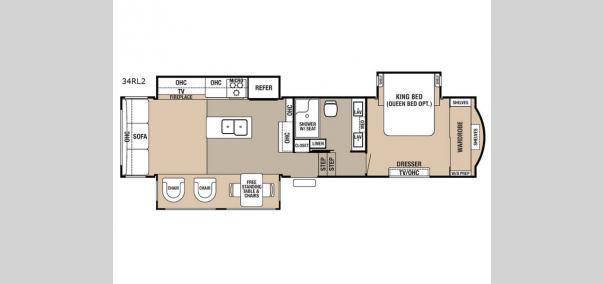 Cedar Creek Hathaway Edition 34RL2 Floorplan