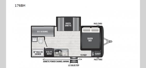 Hideout Single Axle 176BH Floorplan