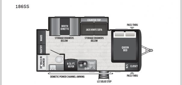 Hideout Single Axle 186SS Floorplan