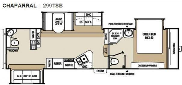 Chaparral 299TSB Floorplan