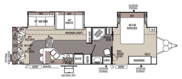 Rockwood Signature Ultra Lite 8314BSS Floorplan