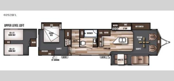 Wildwood Lodge 4092BFL Floorplan