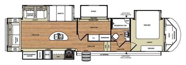 New Forest River RV Wildwood Heritage Glen RLBHK Fifth - Forest river 5th wheel floor plans