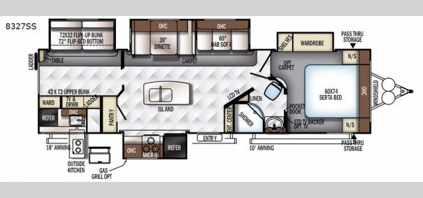 Rockwood Signature Ultra Lite 8327SS Floorplan