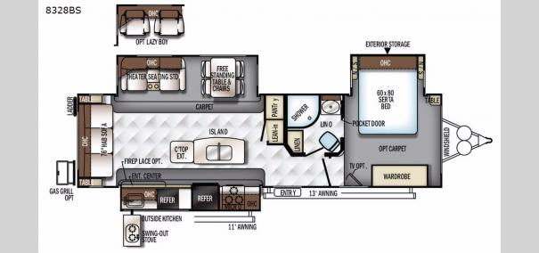 Rockwood Signature Ultra Lite 8328BS Floorplan