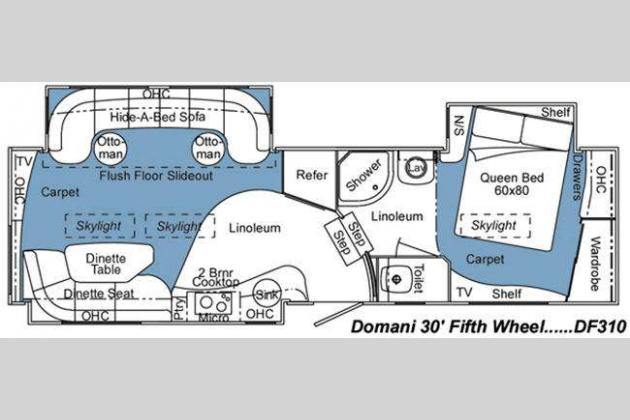 Used 2008 carriage domani df310 fifth wheel at fun town rv for Carriage rv floor plans