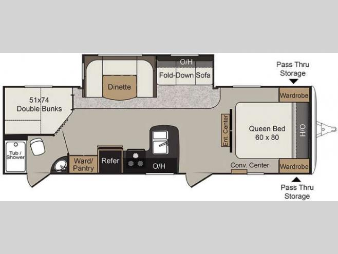 Floorplan - 2017 Keystone RV Passport 2810BHWE Grand Touring