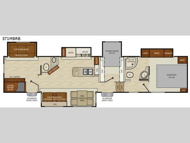 Used Car Floor Plan: Used 2017 Coachmen RV Chaparral 371MBRB Fifth Wheel At