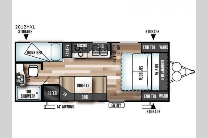 Floorplan - 2017 Forest River RV Wildwood X-Lite 201BHXL