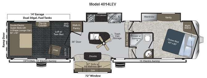 Floorplan - 2012 Keystone RV Raptor 4014LEV