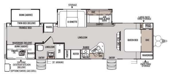 Floorplan - 2014 Forest River RV Wildwood Heritage Glen 312QBUD