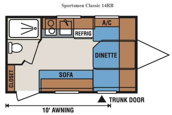 Floorplan - 2014 KZ Sportsmen Classic 14RB