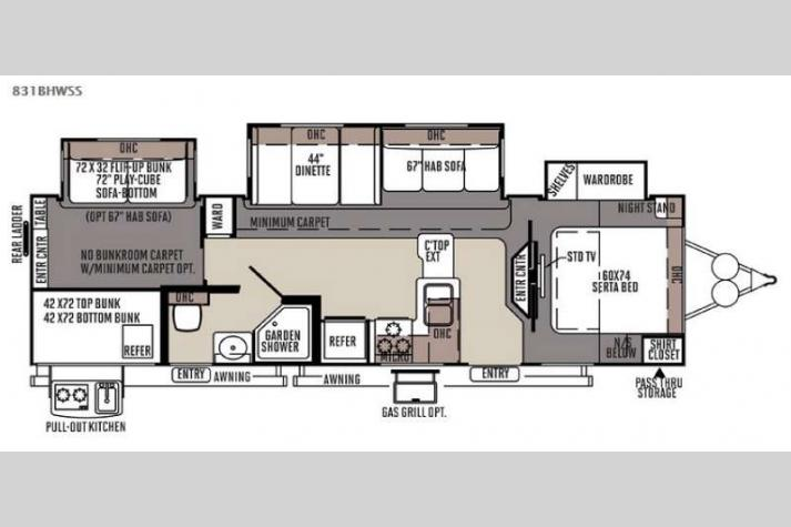 Floorplan - 2015 Forest River RV Flagstaff Classic Super Lite 831BHWSS