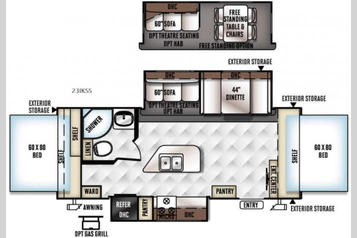 Floorplan - 2016 Forest River RV Flagstaff Shamrock 23IKSS