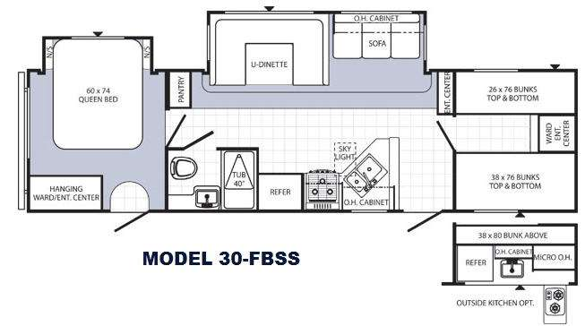 Travel Trailers Floor Plans With Bunk Beds Gurus