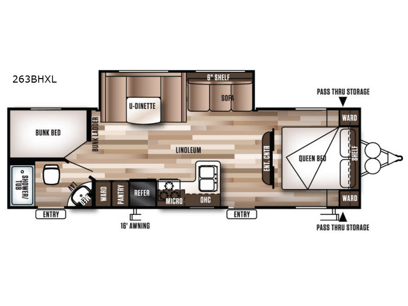 Floorplan - 2017 Forest River RV Wildwood X-Lite 263BHXL