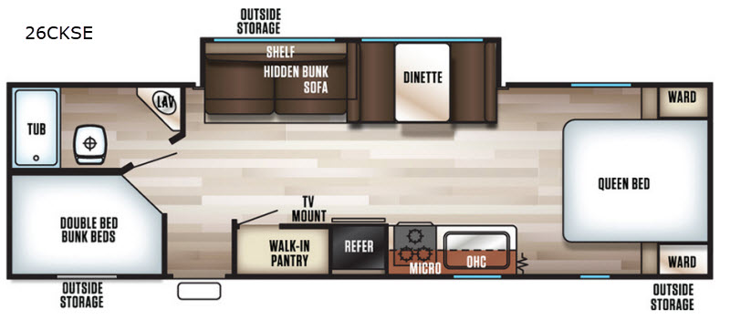 New 2019 Forest River RV Cherokee Grey Wolf 26CKSE Travel Trailer at