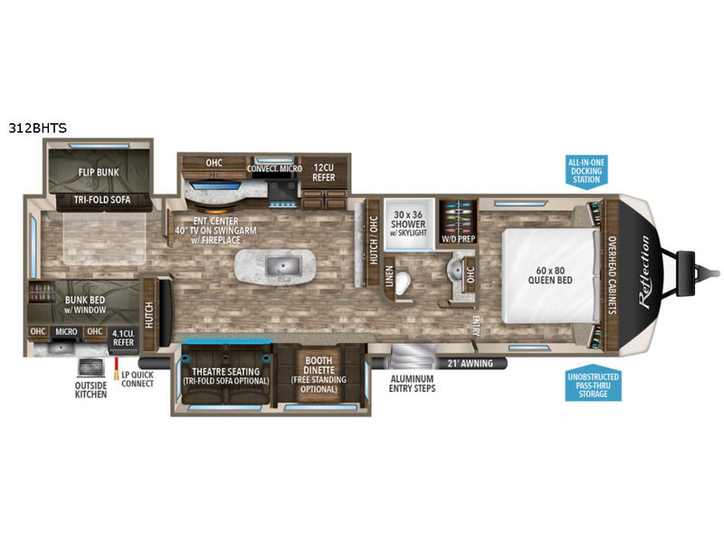 New 2019 Grand Design Reflection 312bhts Travel Trailer At