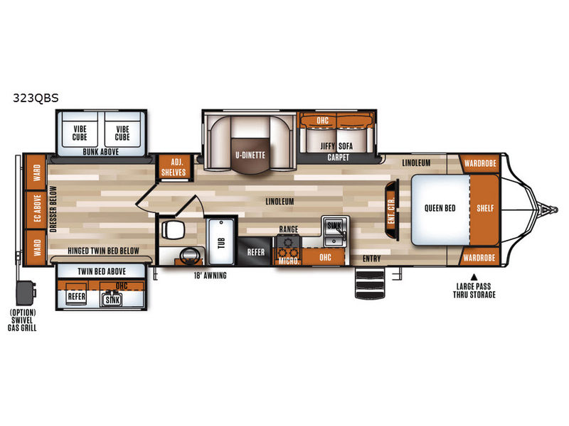 Vibe 323qbs travel trailer Rear bedroom travel trailer floor plans