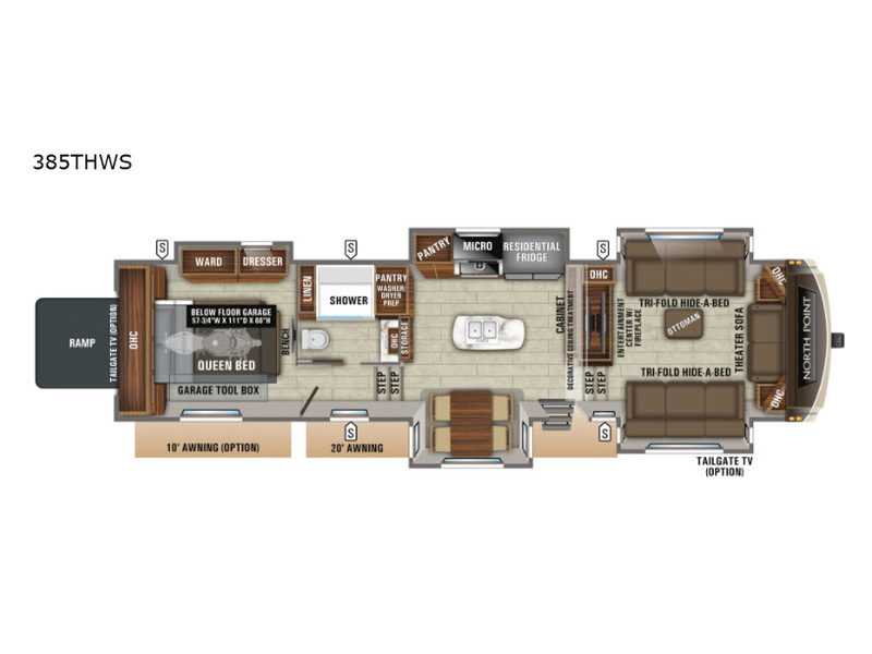 new jayco north point 385thws toy hauler fifth wheel for sale   review rate  compare floorplans - rvingplanet