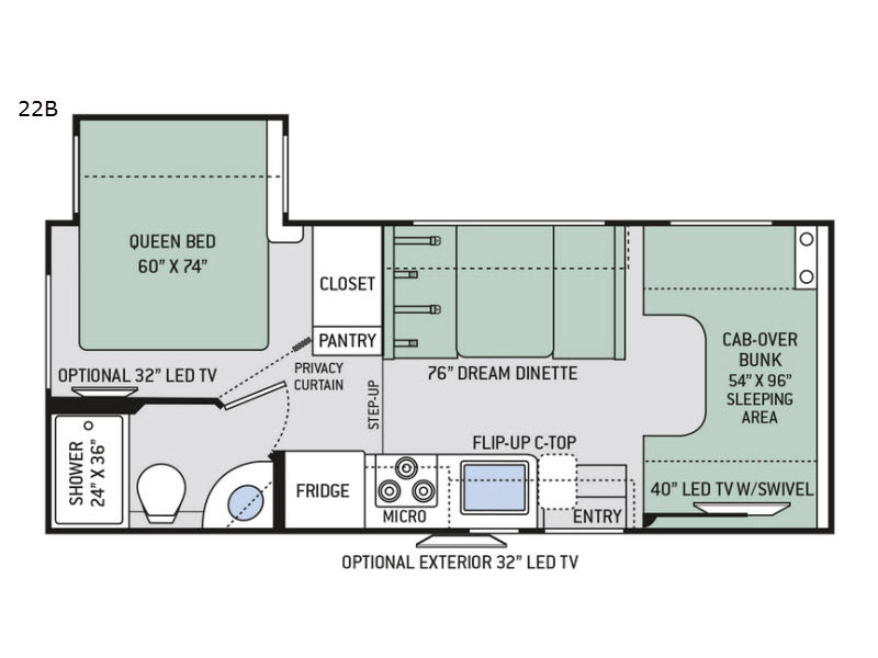 Chateau 22b chevy motor home class c for Chateau rv floor plans