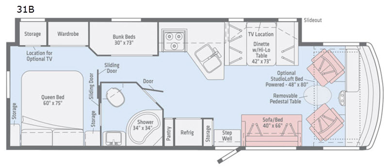 Floorplan - 2017 Itasca Sunstar 31BE