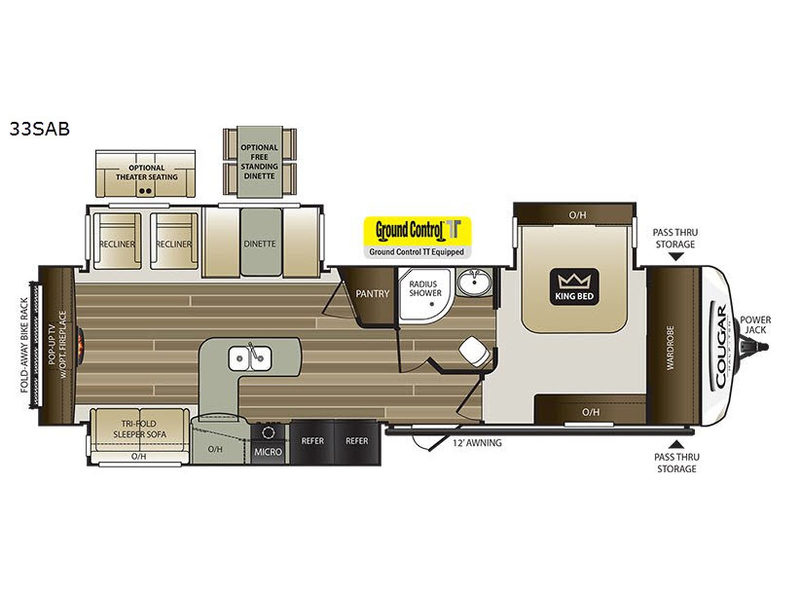 New 2019 Keystone Rv Cougar Half Ton Series 33sab Travel