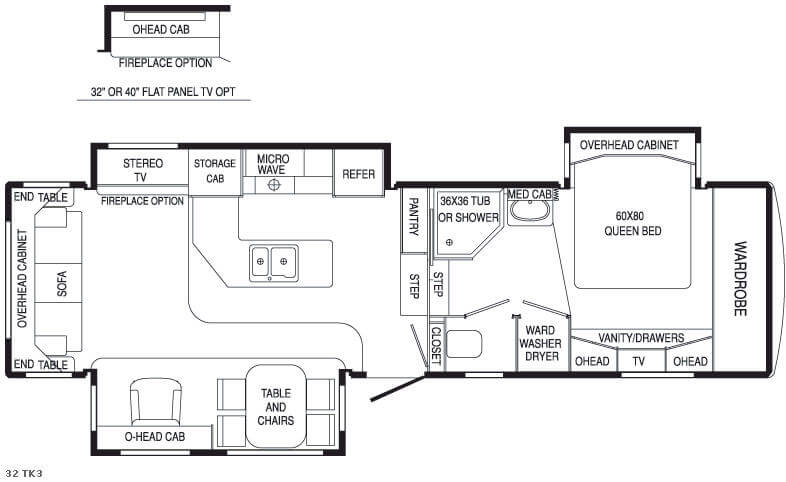 Floorplan - 2007 DRV Luxury Suites Mobile Suites 32 TK3