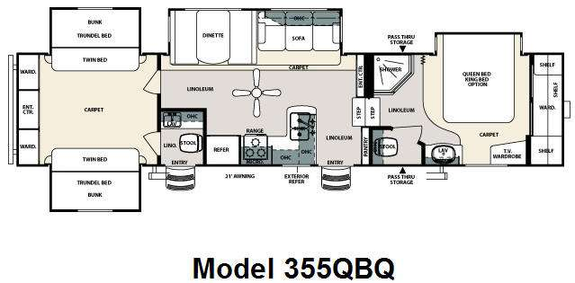 Floorplan - 2009 Forest River RV Sierra 355QBQ